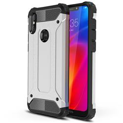 King Kong Armor Premium Shockproof Dual Layer Rugged Hard Cover for Motorola One Power (P30 Note) - Technology Silver