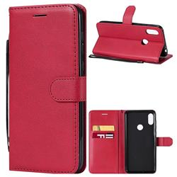 Retro Greek Classic Smooth PU Leather Wallet Phone Case for Motorola One Power (P30 Note) - Red