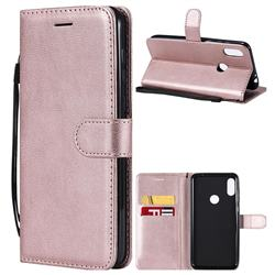 Retro Greek Classic Smooth PU Leather Wallet Phone Case for Motorola One Power (P30 Note) - Rose Gold