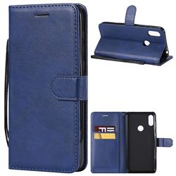 Retro Greek Classic Smooth PU Leather Wallet Phone Case for Motorola One Power (P30 Note) - Blue