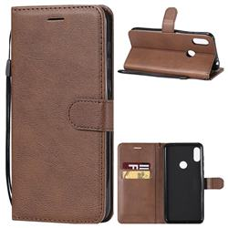 Retro Greek Classic Smooth PU Leather Wallet Phone Case for Motorola One Power (P30 Note) - Brown