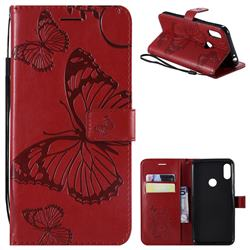 Embossing 3D Butterfly Leather Wallet Case for Motorola One Power (P30 Note) - Red