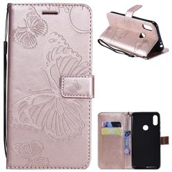 Embossing 3D Butterfly Leather Wallet Case for Motorola One Power (P30 Note) - Rose Gold