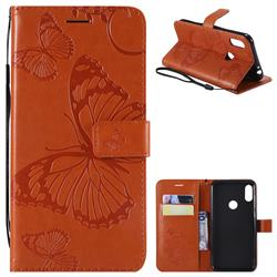 Embossing 3D Butterfly Leather Wallet Case for Motorola One Power (P30 Note) - Orange