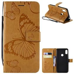 Embossing 3D Butterfly Leather Wallet Case for Motorola One Power (P30 Note) - Yellow