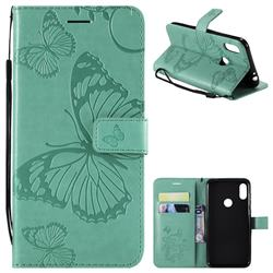 Embossing 3D Butterfly Leather Wallet Case for Motorola One Power (P30 Note) - Green