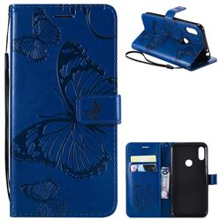 Embossing 3D Butterfly Leather Wallet Case for Motorola One Power (P30 Note) - Blue