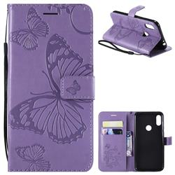 Embossing 3D Butterfly Leather Wallet Case for Motorola One Power (P30 Note) - Purple