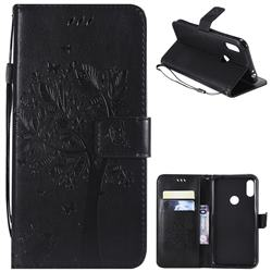 Embossing Butterfly Tree Leather Wallet Case for Motorola One Power (P30 Note) - Black