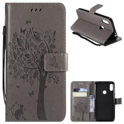 Embossing Butterfly Tree Leather Wallet Case for Motorola One Power (P30 Note) - Grey