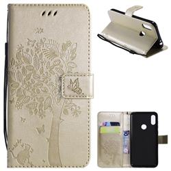 Embossing Butterfly Tree Leather Wallet Case for Motorola One Power (P30 Note) - Champagne