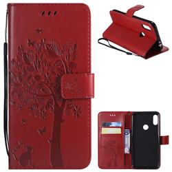 Embossing Butterfly Tree Leather Wallet Case for Motorola One Power (P30 Note) - Red
