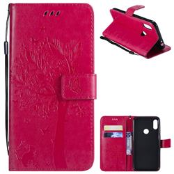 Embossing Butterfly Tree Leather Wallet Case for Motorola One Power (P30 Note) - Rose
