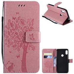 Embossing Butterfly Tree Leather Wallet Case for Motorola One Power (P30 Note) - Pink