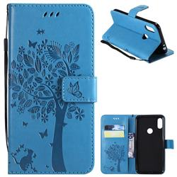 Embossing Butterfly Tree Leather Wallet Case for Motorola One Power (P30 Note) - Blue