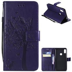 Embossing Butterfly Tree Leather Wallet Case for Motorola One Power (P30 Note) - Purple