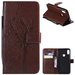 Embossing Butterfly Tree Leather Wallet Case for Motorola One Power (P30 Note) - Coffee