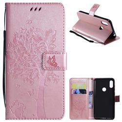 Embossing Butterfly Tree Leather Wallet Case for Motorola One Power (P30 Note) - Rose Pink