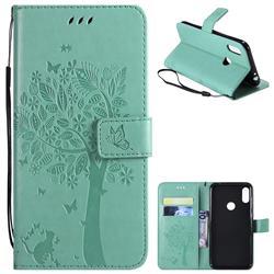 Embossing Butterfly Tree Leather Wallet Case for Motorola One Power (P30 Note) - Cyan