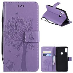 Embossing Butterfly Tree Leather Wallet Case for Motorola One Power (P30 Note) - Violet