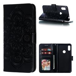 Intricate Embossing Datura Solar Leather Wallet Case for Motorola One Power (P30 Note) - Black