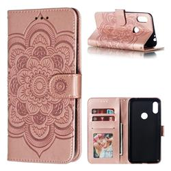 Intricate Embossing Datura Solar Leather Wallet Case for Motorola One Power (P30 Note) - Rose Gold