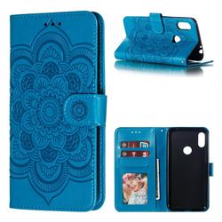 Intricate Embossing Datura Solar Leather Wallet Case for Motorola One Power (P30 Note) - Blue