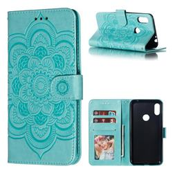 Intricate Embossing Datura Solar Leather Wallet Case for Motorola One Power (P30 Note) - Green