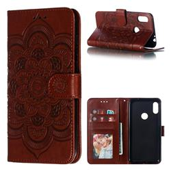 Intricate Embossing Datura Solar Leather Wallet Case for Motorola One Power (P30 Note) - Brown