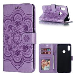 Intricate Embossing Datura Solar Leather Wallet Case for Motorola One Power (P30 Note) - Purple