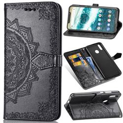 Embossing Imprint Mandala Flower Leather Wallet Case for Motorola One Power (P30 Note) - Black
