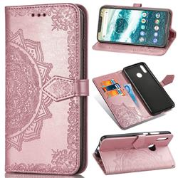 Embossing Imprint Mandala Flower Leather Wallet Case for Motorola One Power (P30 Note) - Rose Gold