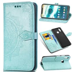 Embossing Imprint Mandala Flower Leather Wallet Case for Motorola One Power (P30 Note) - Green