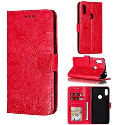 Intricate Embossing Lace Jasmine Flower Leather Wallet Case for Motorola One Power (P30 Note) - Red