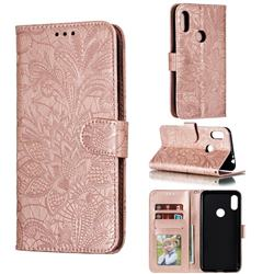 Intricate Embossing Lace Jasmine Flower Leather Wallet Case for Motorola One Power (P30 Note) - Rose Gold