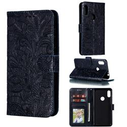 Intricate Embossing Lace Jasmine Flower Leather Wallet Case for Motorola One Power (P30 Note) - Dark Blue