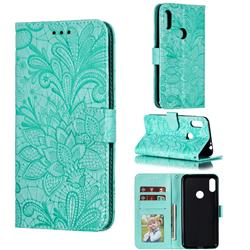 Intricate Embossing Lace Jasmine Flower Leather Wallet Case for Motorola One Power (P30 Note) - Green