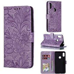 Intricate Embossing Lace Jasmine Flower Leather Wallet Case for Motorola One Power (P30 Note) - Purple