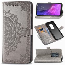 Embossing Imprint Mandala Flower Leather Wallet Case for Motorola One Zoom - Gray