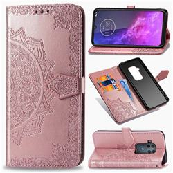 Embossing Imprint Mandala Flower Leather Wallet Case for Motorola One Zoom - Rose Gold