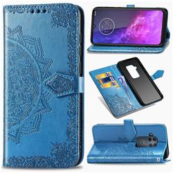Embossing Imprint Mandala Flower Leather Wallet Case for Motorola One Zoom - Blue