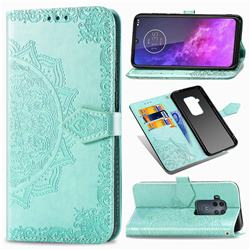 Embossing Imprint Mandala Flower Leather Wallet Case for Motorola One Zoom - Green