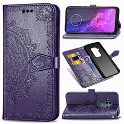 Embossing Imprint Mandala Flower Leather Wallet Case for Motorola One Zoom - Purple
