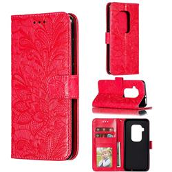 Intricate Embossing Lace Jasmine Flower Leather Wallet Case for Motorola One Zoom - Red