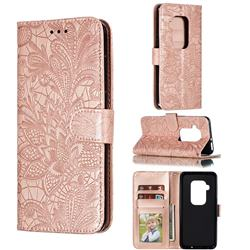 Intricate Embossing Lace Jasmine Flower Leather Wallet Case for Motorola One Zoom - Rose Gold