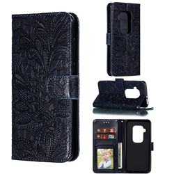 Intricate Embossing Lace Jasmine Flower Leather Wallet Case for Motorola One Zoom - Dark Blue