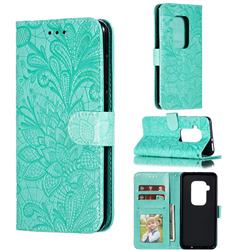 Intricate Embossing Lace Jasmine Flower Leather Wallet Case for Motorola One Zoom - Green
