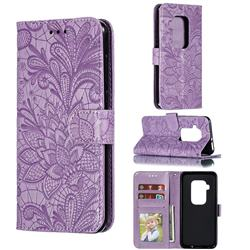 Intricate Embossing Lace Jasmine Flower Leather Wallet Case for Motorola One Zoom - Purple