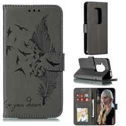 Intricate Embossing Lychee Feather Bird Leather Wallet Case for Motorola One Zoom - Gray