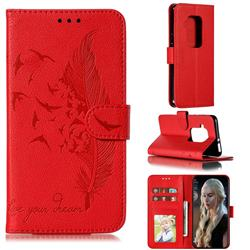 Intricate Embossing Lychee Feather Bird Leather Wallet Case for Motorola One Zoom - Red